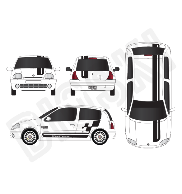 Rally Car Graphic Kit Rs Cup Renault Clio 2 Rs