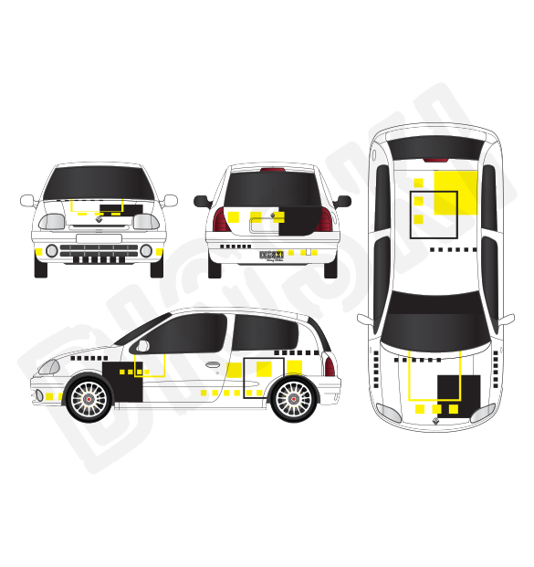 Rally Car Graphic Kit Ragnotti Renault Clio 2 Rs