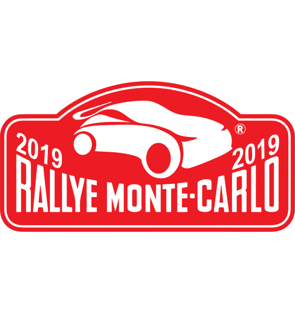 autocollant plaque de rallye monte carlo 2019 dimensions stickers marque 10 cm. Black Bedroom Furniture Sets. Home Design Ideas